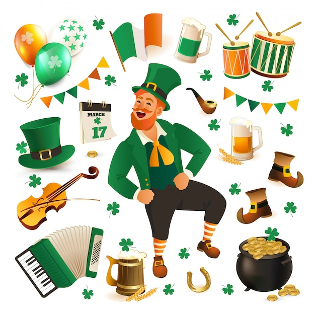 Ensemble d'illustrations pour célébrer la st. patricks day.