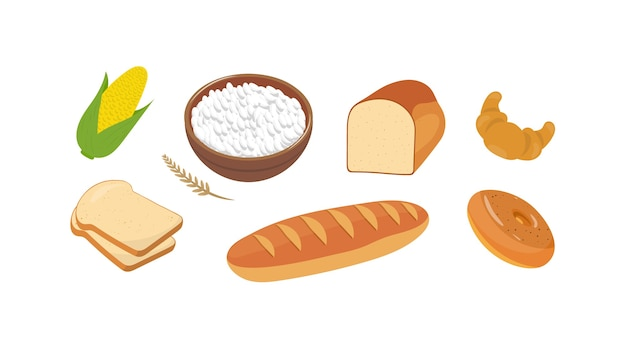 Ensemble d'illustrations de produits de farine