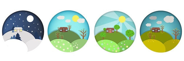 Ensemble d'illustrations de saisons plates