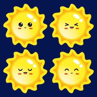 Ensemble d'illustrations de soleil de style dessin animé avec différentes émotions sur fond bleu foncé
