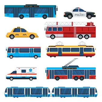 Ensemble d'illustrations de transport public, ambulance, voiture de patrouille de police, machine de pompier, trolleybus, éléments de bus de ville