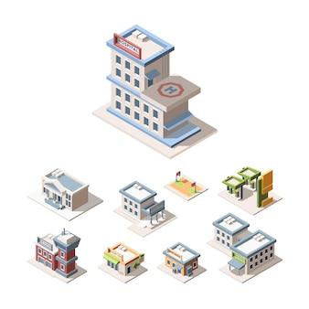 Ensemble d'illustrations vectorielles 3d isométrique de l'architecture de la ville moderne. hôpital, caserne de pompiers, service de police.