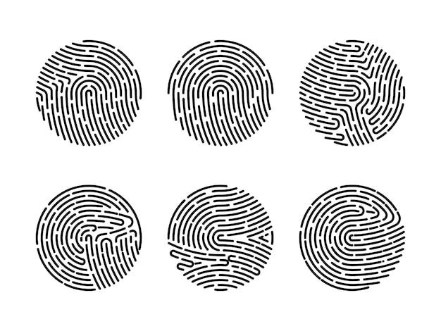 Ensemble d'illustrations vectorielles de l'authentification par empreinte digitale de sécurité. identité du doigt, illustration biométrique de la technologie. collection de modèles d'empreintes digitales.