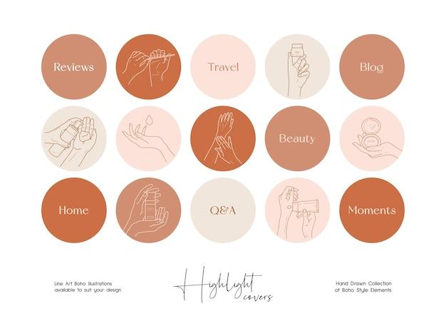 Ensemble d'illustrations vectorielles de beauté d'art dessinés à la main