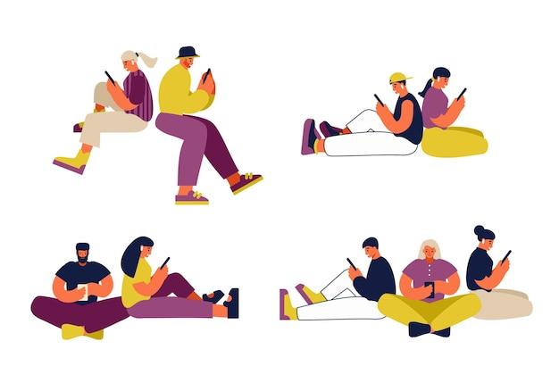 Ensemble d'illustrations vectorielles colorées d'hommes et de femmes de dessins animés modernes parcourant les médias sociaux sur les smartphones tout en passant du temps ensemble