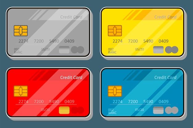 Un ensemble d'illustrations vectorielles de conception de carte de crédit bancaire couleur