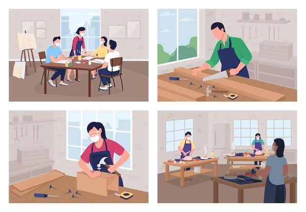 Ensemble d'illustrations vectorielles couleur plat atelier créatif. cours de cuisine. travaux de menuiserie. école d'art. étudiant en classe de personnages de dessins animés 2d avec intérieur de classe sur la collection d'arrière-plan