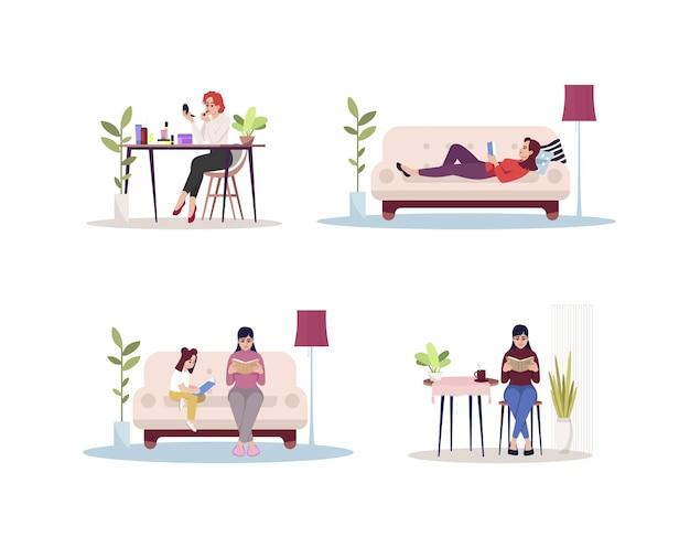 Ensemble d'illustrations vectorielles de couleur rvb semi-plat pour l'activité à domicile des femmes. personne à loisir avec livre. dame se maquille. femme de race blanche s'asseoir à l'intérieur personnage de dessin animé isolé sur fond blanc