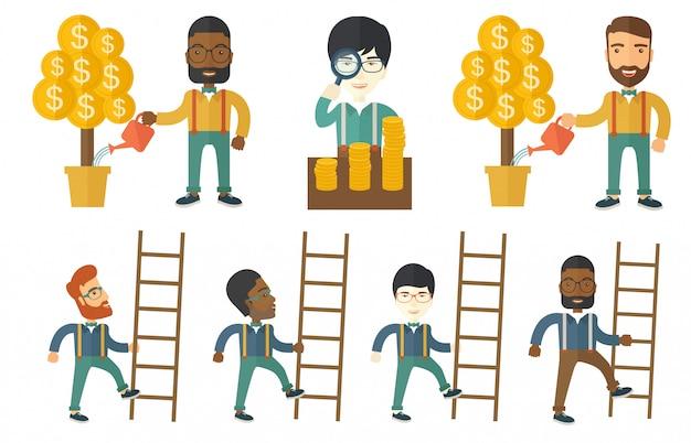 Ensemble d'illustrations vectorielles avec des gens d'affaires.