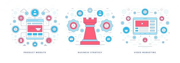 Ensemble d'illustrations vectorielles avec des icônes créées pour la production d'entreprise