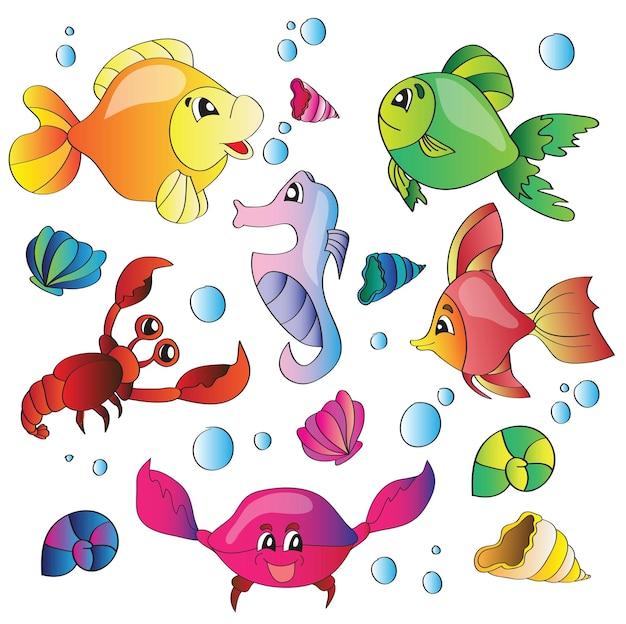 Ensemble d'illustrations vectorielles d'images de la vie marine