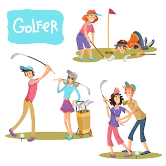 Ensemble d'illustrations vectorielles de jeux de golf.