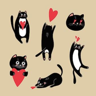 Ensemble d'illustrations vectorielles joyeuses de chats noirs avec des coeurs rouges. pour la conception d'invitations et de cartes de vacances