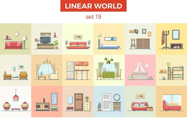 Ensemble d'illustrations vectorielles de meubles plats linéaires concept d'intérieur de maison