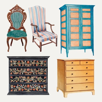 Ensemble d'illustrations vectorielles de meubles vintage, remixé à partir de la collection du domaine public