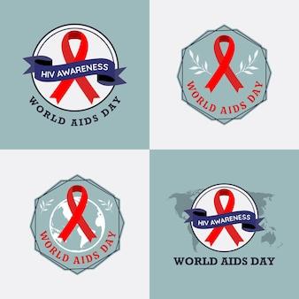 Ensemble d'illustrations vectorielles de modèle de logo de la journée mondiale du sida contre le vih sur fond gris bleu poussiéreux