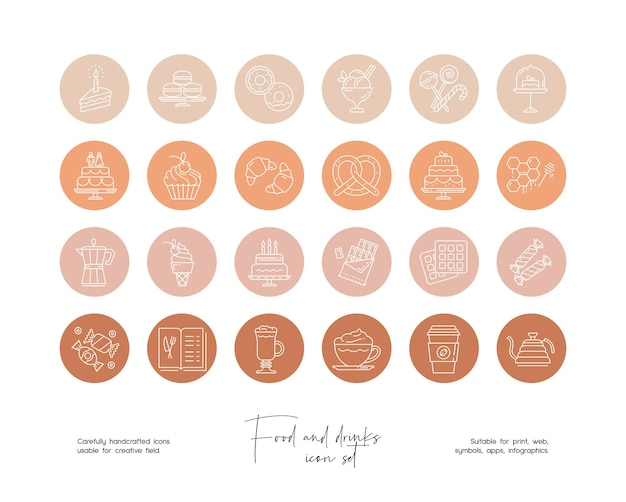 Ensemble d'illustrations vectorielles de nourriture et de boissons dessinées à la main