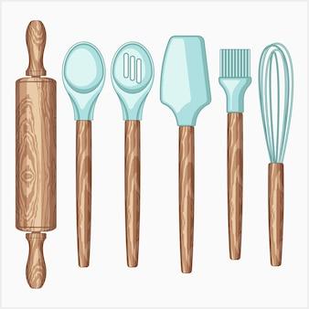 Ensemble d'illustrations vectorielles d'outils de cuisson