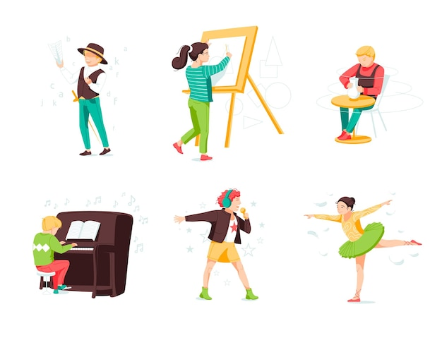Ensemble d'illustrations vectorielles plat du monde de l'enfance