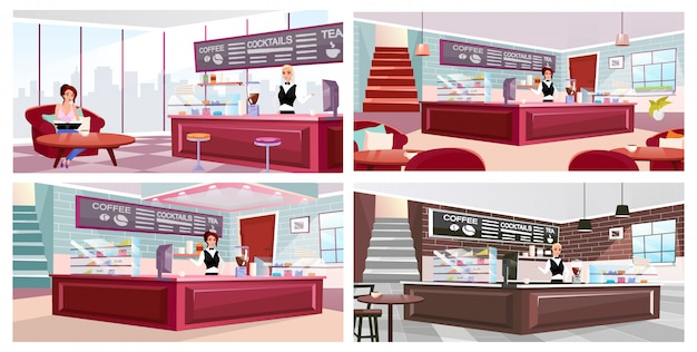 Ensemble d'illustrations vectorielles plat intérieur café