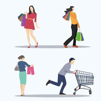 Ensemble d'illustrations vectorielles pour l'activité shopping