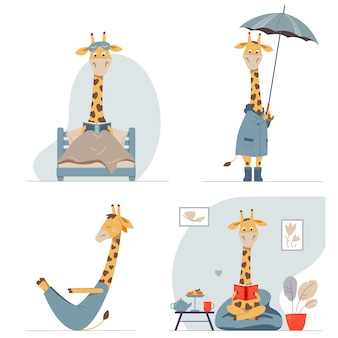 Ensemble d'illustrations vectorielles pour enfants avec des girafes de carton drôles