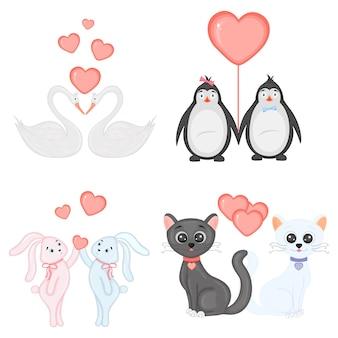 Ensemble d'illustrations vectorielles pour la saint-valentin.