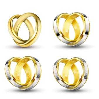 Ensemble d'illustrations vectorielles réalistes d'anneaux de mariage or avec ombre