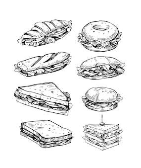 Ensemble d'illustrations vectorielles de sandwichs dans la restauration rapide de style croquis