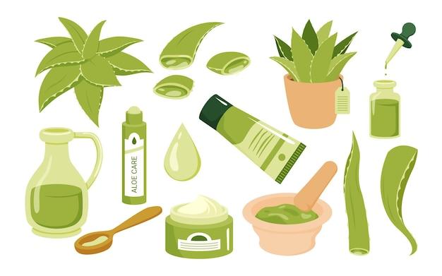 Ensemble d'illustrations vectorielles de soins de la peau de beauté cosmétique d'aloe vera jus de dessin animé vert succulent