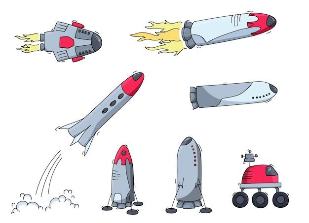 Ensemble d'illustrations vectorielles de vaisseau spatial, fusée, rover. icônes vectorielles de dessin animé doodle.