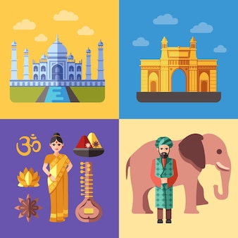 Ensemble d'illustrations de voyage en inde