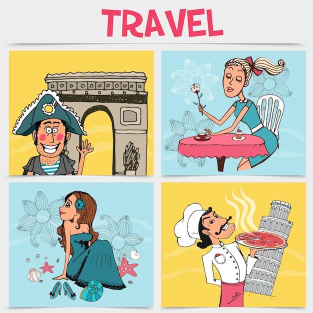 Ensemble d'illustrations de voyage
