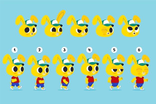 Ensemble d'images d'animation de personnage de dessin animé
