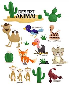 Ensemble d'images d'animaux du désert