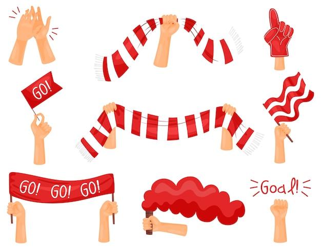 Ensemble d'images d'attributs de fans. couleurs rouges et blanches. illustration vectorielle sur fond blanc.
