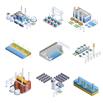 Ensemble d'images de centrales de production d'électricité