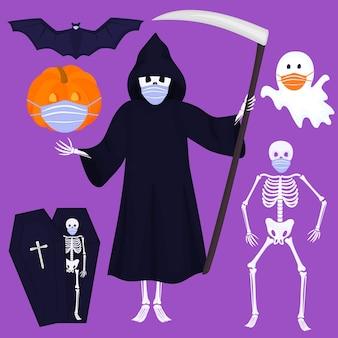 Ensemble d'images clipart pour halloween. squelette, mort avec faux, citrouille, fantôme, chauve-souris portent des masques de protection. personnages et objets traditionnels pour créer des invitations, des cartes, des affiches pour une célébration en toute sécurité.