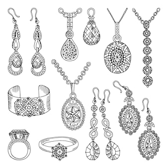 Ensemble d'images dessinées à la main de bijoux de luxe. illustrations vectorielles