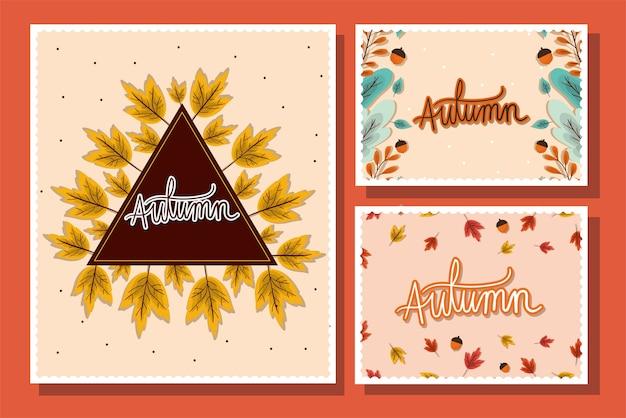 Ensemble d'images avec des feuilles d'automne sur la conception de fond rouge, thème de la saison