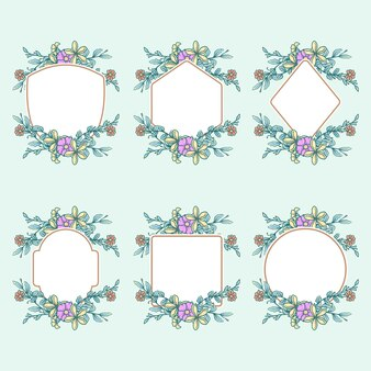 Ensemble d'images avec des fleurs, ligne dessinée à la main avec une couleur numérique