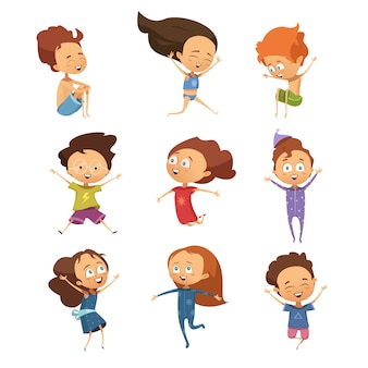 Ensemble d'images isolées de dessin animé mignon de drôles sauter petits garçons et filles dans le style rétro vect plat