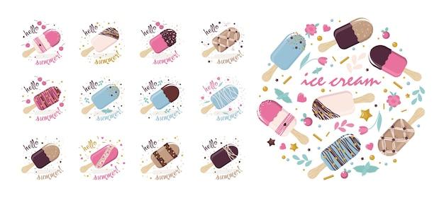 Un ensemble d'images de popsicle avec des messages de bienvenue. fond blanc, isolé.