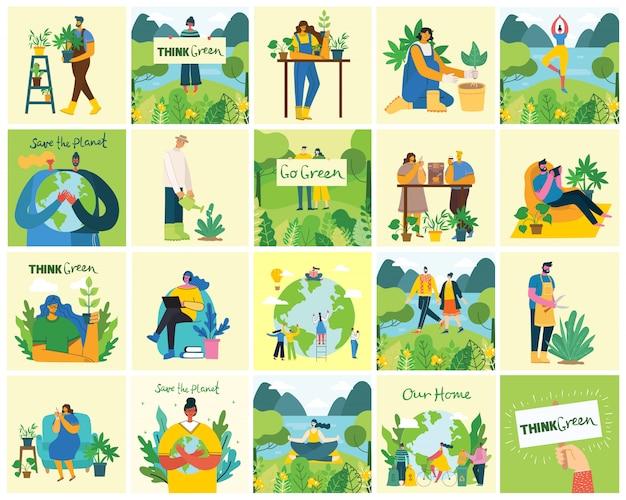 Ensemble d'images de sauvegarde écologique. les gens qui s'occupent du collage de la planète. zéro déchet, pensez vert, sauvez la planète, notre texte écrit à la main dans le design plat moderne
