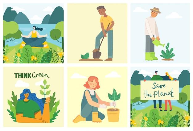 Ensemble d'images de sauvegarde écologique. personnes prenant soin du collage de la planète. zéro déchet, pensez vert, sauvez la planète, notre texte écrit à la main dans le design plat