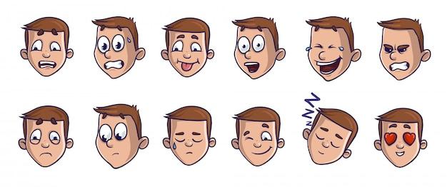 Ensemble d'images de tête avec différentes expressions émotionnelles. visages de dessins animés emoji transmettant divers sentiments.