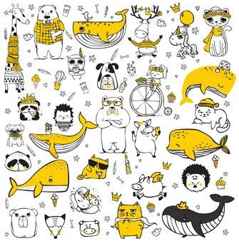 Ensemble d'images vectorielles d'animaux hipster doodle parfaits pour la conception de cartes de voeux, d'imprimés de t-shirts et d'affiches pour enfants