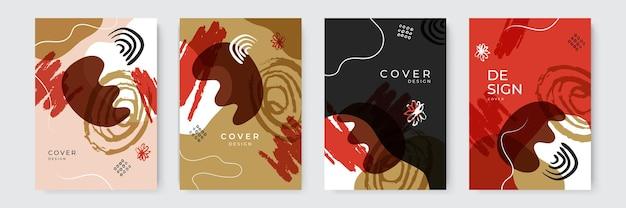 Ensemble d'images vectorielles d'arrière-plans créatifs abstraits dans un style branché minimal avec espace de copie pour le texte - modèles de conception pour les histoires de médias sociaux et la conception de la couverture