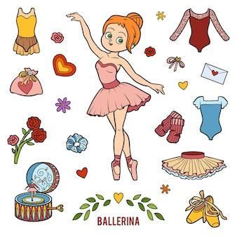 Ensemble d'images vectorielles avec ballerine et objets de danse. objets colorés de dessin animé