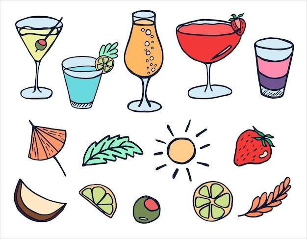 Ensemble d'images vectorielles avec des cocktails d'été margarita mojito et fruits dans un style doodle
